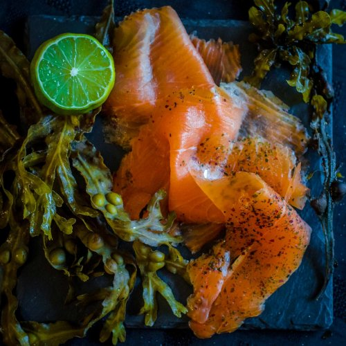 Seaweed cured Smoked Salmon