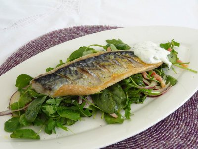 Grilled Mackerel Fillets With Watercress, Smoked Bacon & Herb Crème Fraiche