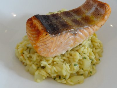 Lightly Smoked Salmon with Fennel and Saffron Risotto