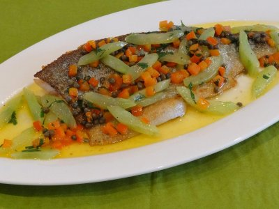 Pan Fried Trout Fillet with Cucumber, Capers, Red Pepper & Citrus Butter