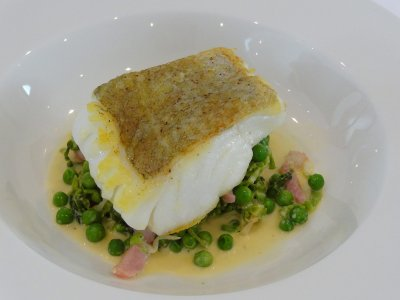 Roast Cod with Petit Pois Bacon and Spring Cabbage